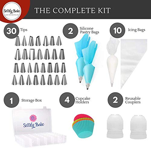 Swirly Bake Cake Decorating 50 Piece Set. Stainless Steel Piping Nozzles...