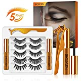 BIOSCEN 6D Magnetic Eyelashes with Eyeliner Kit, Eyelashes, Reusable False Lashes Natural Look with Eyelash Tweezers, No Glue Needed Lashes Kit with 2 Tubes, Valentines Day Gifts for Her (5 pairs)