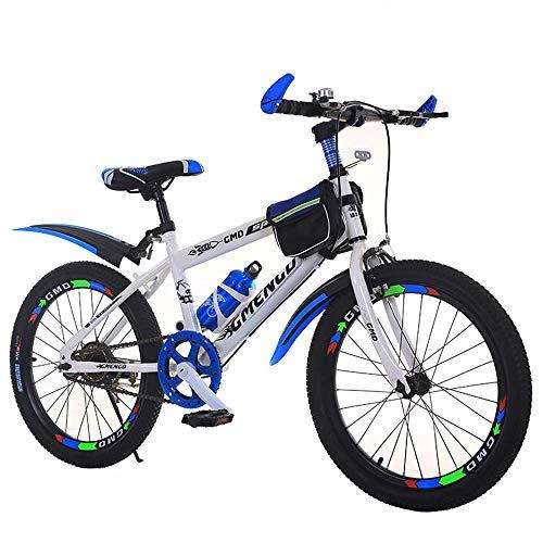 MW Kinderfahrrad, Gebirgsfahrrad, Studenten Bike, 20 Zoll 22 Zoll, Single Speed Bike Scheibenbremsen,Blau,20 inch