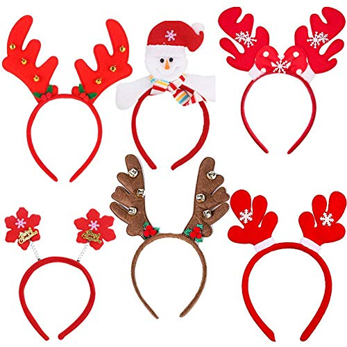 Dusenly Sombreros de Santa (Paquete de 6) Diversión variada Diademas navideñas Banda para el Cabello Disfraz de Reno navideño Diademas para Suministros de Fiesta de Navidad