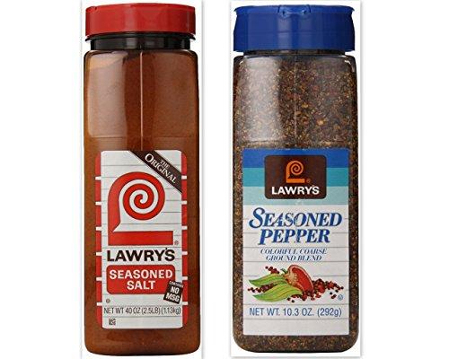 Lawry's Seasoning Bundle (Pack of 2) includes 1-Bottle Seasoned Salt, 40 oz + 1-Bottle Seasoned Pepper, 10.3 oz