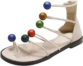 OverDose Sandales Sandales de Plage Femmes Plates en Soie Été, Classique Mode Chic Sandale Slip on Bout Ouvert Tongs Confo...
