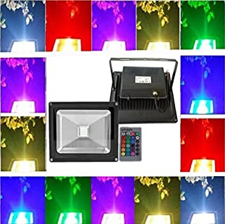 Low Volt Led light Trendmart DC/AC 12V 10W RGB Led Floodlight Lamp Waterproof Ip 65 Outdoor Security Wash Flood Light Landscape Lighting (10W RGB Black finish).