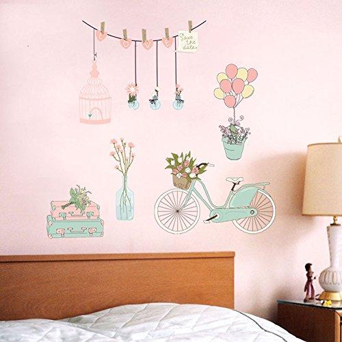 Bodhi2000 - Vinilo decorativo para pared, diseño de florero y globos