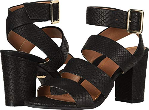 Vionic Women's Perk Blaire Open Toe Heel - Ladies Strappy Sandal with Concealed Orthotic Arch Support Black Snake 6.5 Medium US