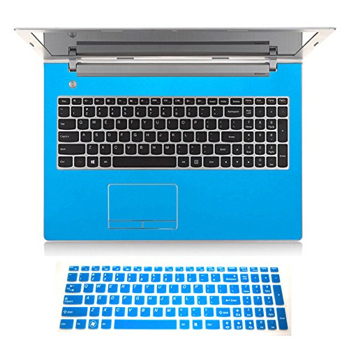 2in1 Wrist Palm Rest Touchpad Trackpad Skin+ Keyboard Cover Protector for 15.6' Lenovo Z50 Z50-70 G50 G50-30 G50-45 G50-70 G50-80 (Shimmery Light Blue palmrest Sticker+semi-Blue Keyboard Skin)