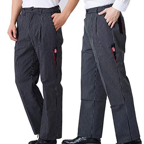 Jitong Herren Kochhose Gummizug Bundhose Gestreift Bäckerhosen mit Elastische Taille Leichte Arbeitshos - Schwarz weiß Streifen   Voll elastisch, 4XL