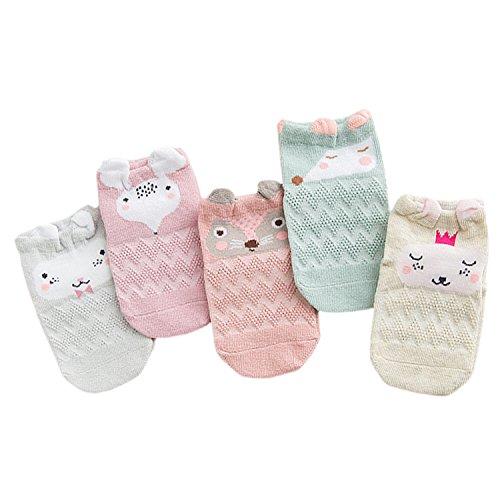 XPX Garment 5 Pares Animal Algodón Calcetines de Corte Bajo para Bebé Niños Niñas 0-3 años