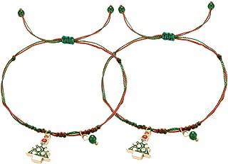 Amosfun 2pcs Christmas Bracelet with Christmas Tree Friendship Braided Bracelet Holiday Christmas Jewelry Kids Adults