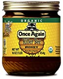 Once Again Organic Killer Bee Honey, 16oz - Wildflower Honey Harvested from South America - USDA Organic, Gluten-Free, Grade A, Kosher - Glass Jar