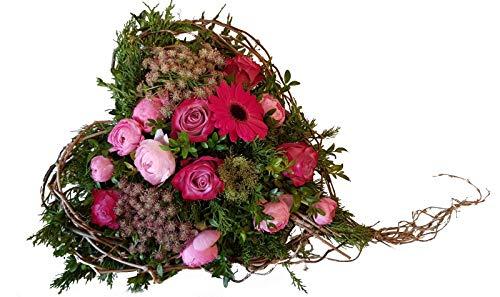 Grabgesteck mit frischen Blumen -Trauriges Herz- Trauergesteck mit Rosen in Rosa,Pink