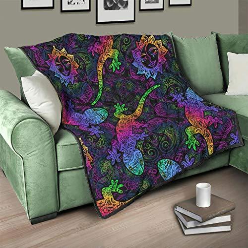 Flowerhome Manta para sofá o cama, diseño de lagarto, color blanco, 100 x 150 cm