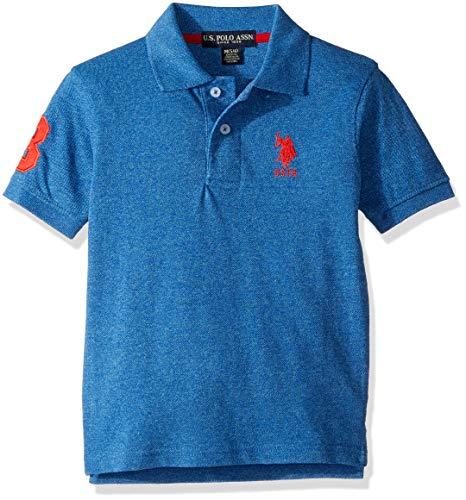 US Polo Assn Boys#039 Little Short Sleeve Marled Pique Polo Shirt Raft Blue 5/6