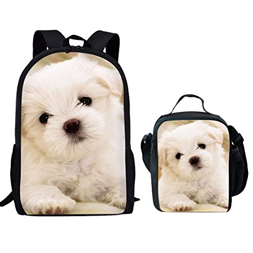 Showudesigns Cute Dog Rucksack Kids School Bag Set Girls Backpack and Boys Small Lunch Bag with Bottle Holder