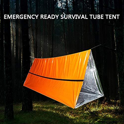 Smony – Sport & Outdoor Camping Zelte tragbare Notfallschlafsack Hänge-Zelte für Outdoor, Rohrzelt Notüberlebensunterschlupf Schutz gegen Regen Schnee Mücken Bisse, Orange, Größe