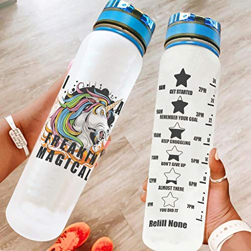 Knowikonwn Large Unicorn Sport Water Bottle with Carry Strap - Gym Bottle for Camping white8 1000ml