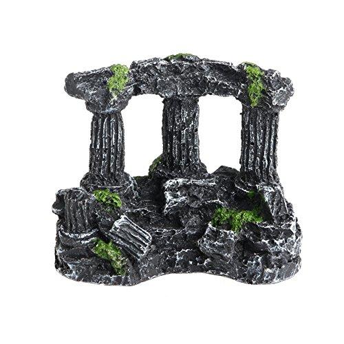 WOWOWO Resina Roma pilares de Piedra Cuadrados Acuario paisajismo pecera decoración Tri-columnas