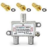 SAT & BK-Verteiler - 2-Fach Splitter - voll geschirmt - Unicable & UHD tauglich SYMARIX SR2VF - für...
