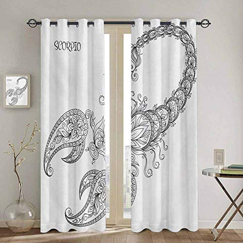 DONEECKL Zodiac Scorpio Kids Curtain Hand Drawn Line Art Style Floral Animal...
