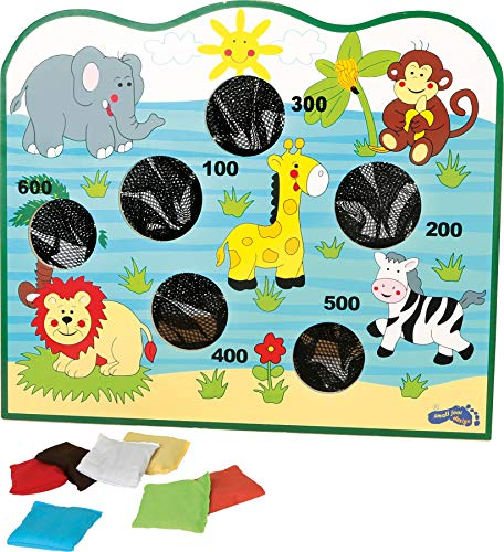 small foot 7730 Stand de lancer «Afrique» en bois, avec sacs de peinture colorés, 6 trous et motifs animaux, à partir de 3 ans