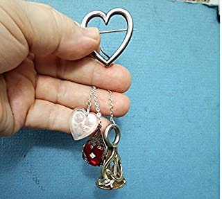 CHATELAINE Large Sterling Heart BROOCH w/ Large Silver Plate Wax Seal Stamp, Cut Glass Roses Heart, Queen Ann High Collar Mirrored Heart.
