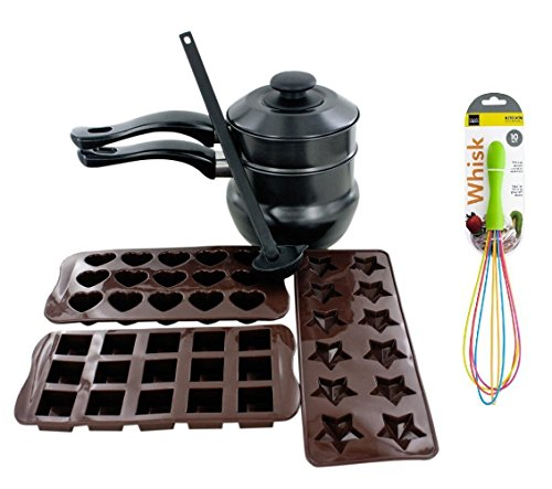"""The Kitchen Queen 6 Pack Chocolate Making Kit Includes Ladle, Double Boiler, and Chocolate Moulds + 10"""" Whisk"""
