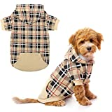 EXPAWLORER Plaid Dog Hoodie - British Style Plaid Pet Sweaters with Hat for Small Medium Large Dogs