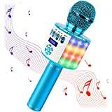 srnede Bluetooth Karaoke Wireless Microphone with LED Lights, Portable Microphone for Kids, Girls, Boys and Adults