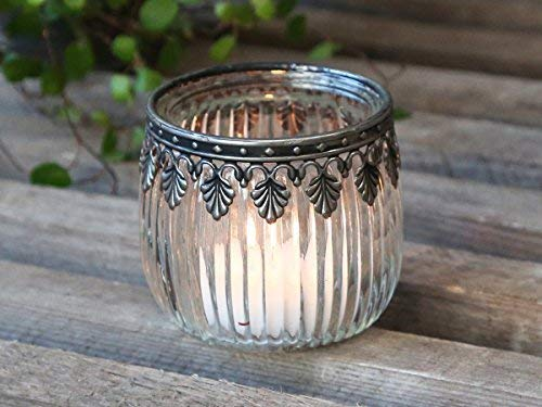 Chic Antique Windlicht Teelichthalter Bauernsilber Kerzenständer