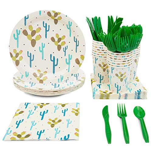 Fiesta Party Supplies, Cactus Plates, Plastic Cutlery, Paper Cups, and Luncheon Napkins (Serves 24, 144 Pieces)