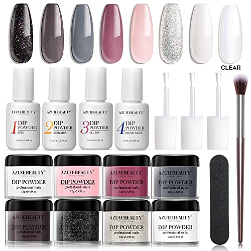 17 Pcs Dip Powder Nail Kit Starter, AZUREBEAUTY 8 Colors Acrylic Dipping Powder Kit Essential System Liquid Set with Base Coat Gel Top Ativator Brush Saver for French Nail Art Manicure DIY Salon