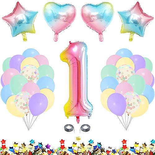 MMTX Decorazioni Compleanno 1 Anno, Palloncini Compleanno 1 Anno Addobbi Compleanno Festa Compleanno Bambinicon Palloncini Pastello, Konfetti Palloncini per Nascita Bambina Addobbi Feste