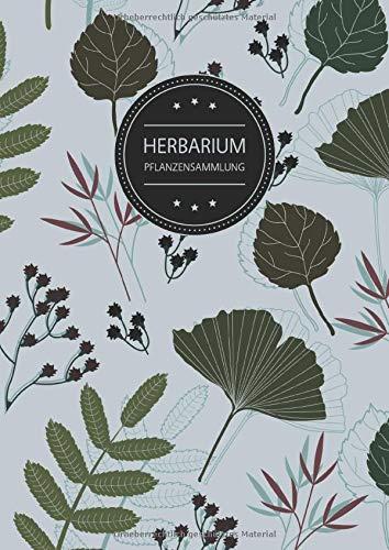 Herbarium Pflanzensammlung: Herbarium Leer A4 - Pflanzen Sammeln, Bestimmen, Aufbewahren - 110 Seiten Papier Weiß - Pflanzenbestimmung - Motiv: Blumen Blüten Muster Natur Grün Grau