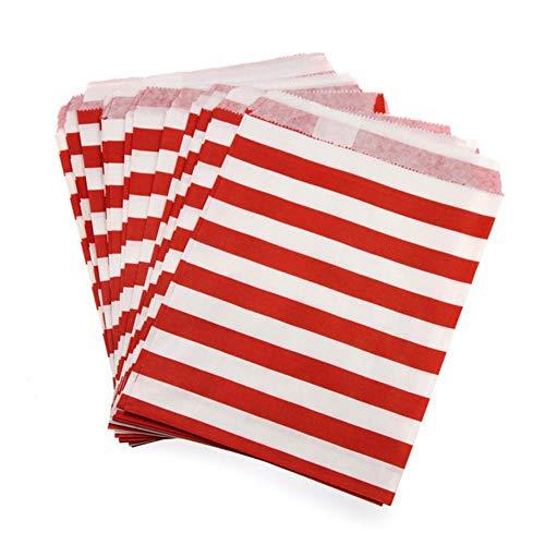 TOSISZ 100 Stück Bunte Candy Bags Stripe Food Pergamentpapier Candy Buffet Kids Favor Geschenk Hochzeitsdekoration Geburtstagsfeierzubehör, rot, 100 Stück