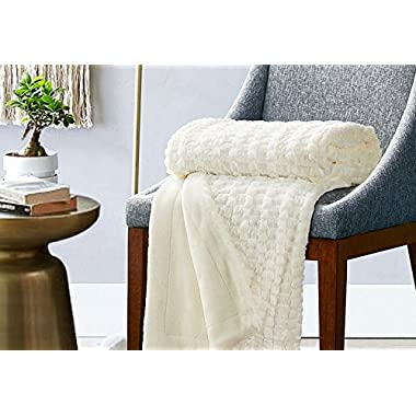 Faux Fur Fleece Throw Blanket 50x60 Ivory Rustic Home Decor Bedding Blanket by Bedsure