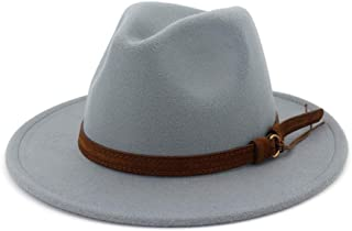 d3bef21baf838 Lisianthus Men   Women Vintage Wide Brim Fedora Hat with Belt Buckle