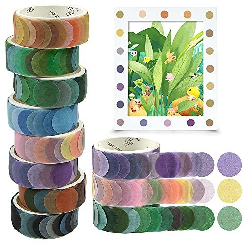 O-Kinee Washi Tape Set, 8 Rollos de Cinta Adhesiva Decorativa Washi Glitter Adhesivo de Cinta Decorativa para Scrapbooking DIY Manualidades, Pegatinas de Cinta Washi de Puntos