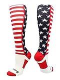 MadSportsStuff USA American Flag Stars and Stripes Over The Calf Socks (Navy/Red/White, Medium)