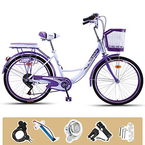 GHH 24 Zoll Damen-Mädchen-Kinder-Fahrrad, 6-Gang City Fahrrad, Stilvolles Sommerfahrrad, Lila, Vollständige Konfiguration