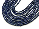 World Wide Gems Beads Gemstone Lapis Lazuli - 14'' Inches Nice Blue Colour Micro Cut Faceted Rondell Beads Size 3.5 mm Code-HIGH-61800