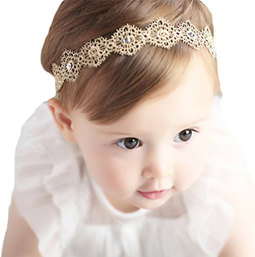 Baby Girl Super Elastic Headband,Cotton Lace Toddler Hair Band,Infant Soft Turban Hair Accessories Set (Gold 1pcs)