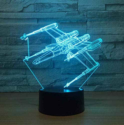Fighter 3D Illusion Lamp 7 Color Plane Led 3D Night Lights Star Wars Touch USB Table Baby Sleeping Nightlight