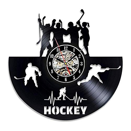 FANCYLIFE Wand der Eishockey-Sport-Vinylwanduhr-LED mit oder ohne geführtes Licht, 8 Arten zum zu wählen