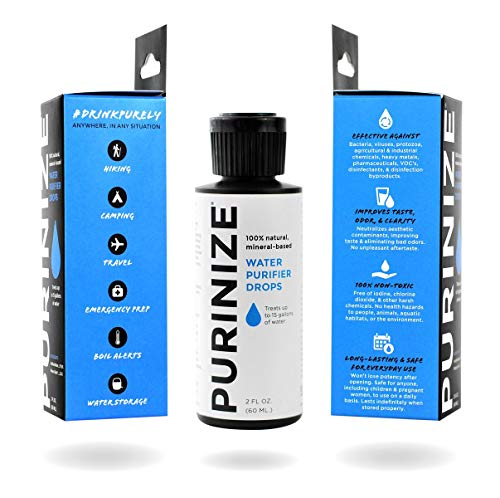 PURINIZE - The Best and Only Patented Natural Water Purifying Solution - Chemical Free Camping and Survival Water Purification (8 oz)