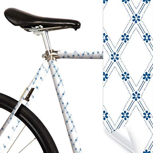 MOOXIBIKE Delft Light weiß blau Mini Fahrradfolie mit Muster für Rennrad, MTB, Trekkingrad, Fixie, Hollandrad, Citybike, Scooter, Rollator für circa 13 cm Rahmenumfang