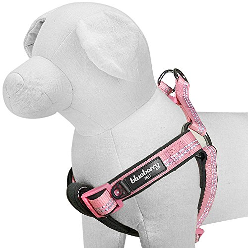Blueberry Pet 4 Colors Soft & Comfy New 3M Reflective Step-in Pastel Color Padded Dog Harness, Chest Girth 15.5' - 19.5', Pastel Pink, Small, Adjustable Harnesses for Dogs