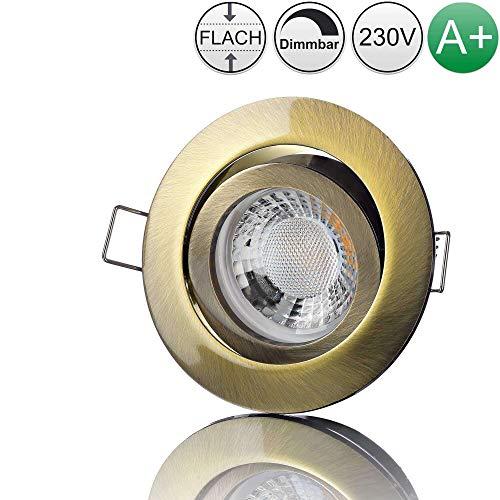 lambado® Premium LED Spot 230V Flach Altmessing - Hell & Sparsam inkl. 5W Strahler warmweiß dimmbar - Moderne Beleuchtung durch zeitlose Einbaustrahler/Deckenstrahler