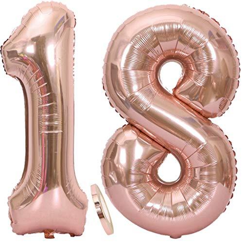 Feelairy Luftballons 18. Geburtstag XXL Rose Gold, 2 Stück Riesen Folienballon Zahl 18 mit Band Nummer Ballons 40