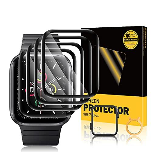 TOPACE 4 protectores de pantalla compatibles con Apple Watch Series 6/SE/5/4 de 40 mm, cobertura completa 10D, borde suave de alta definición, sin burbujas y resistente a los arañazos