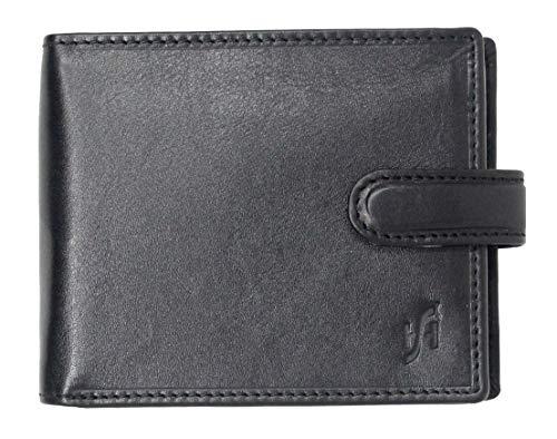 StarHide Morbido di lusso italiano vegetariano conciata portafogli in pelle da uomo con carta d'identità, carta di credito e tasche di monete # 1212 (Nero)